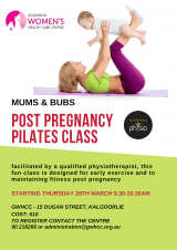 Mums & Bubs Post Pregnancy Pilates Class